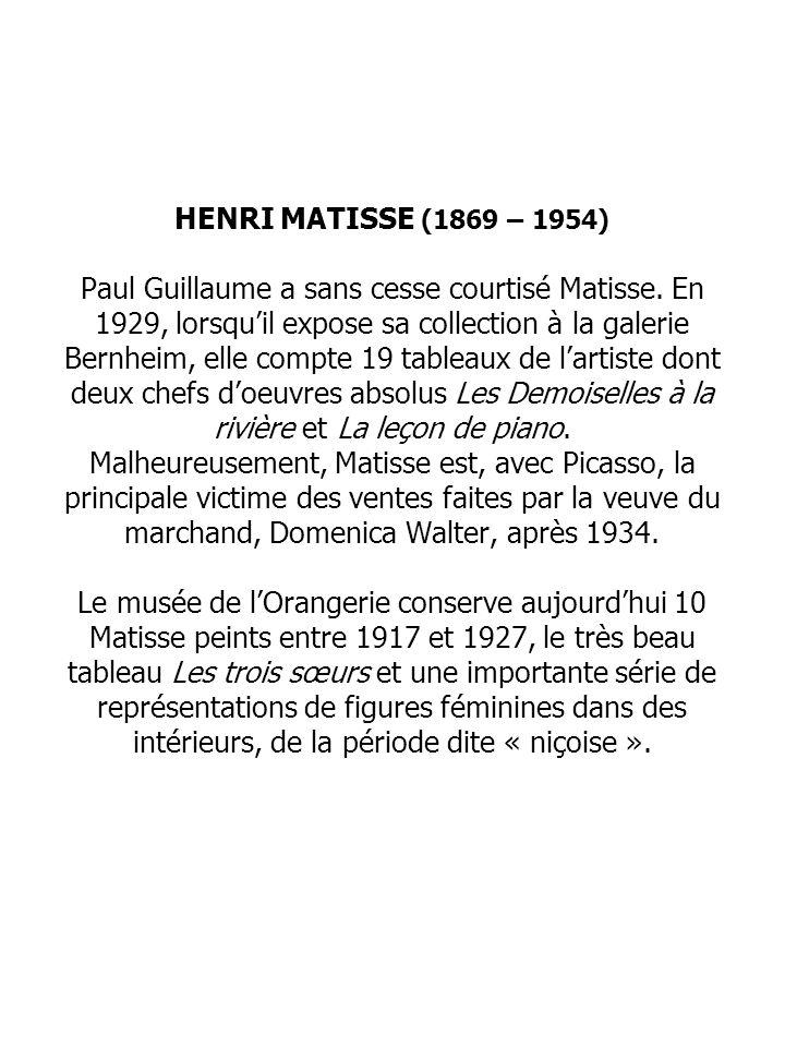 HENRI MATISSE (1869 – 1954) Paul Guillaume a sans cesse courtisé Matisse.