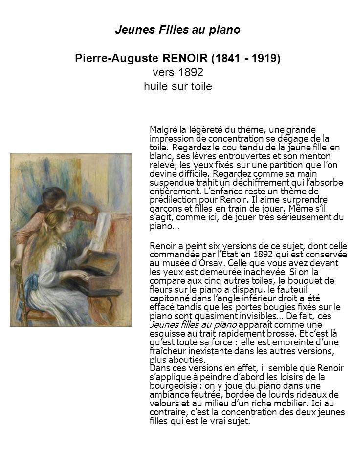 Pierre-Auguste RENOIR (1841 - 1919) vers 1892 huile sur toile