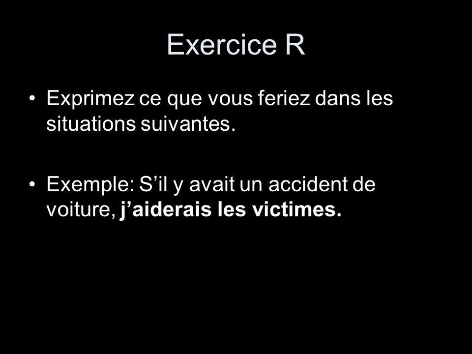 Exercice R Exprimez ce que vous feriez dans les situations suivantes.