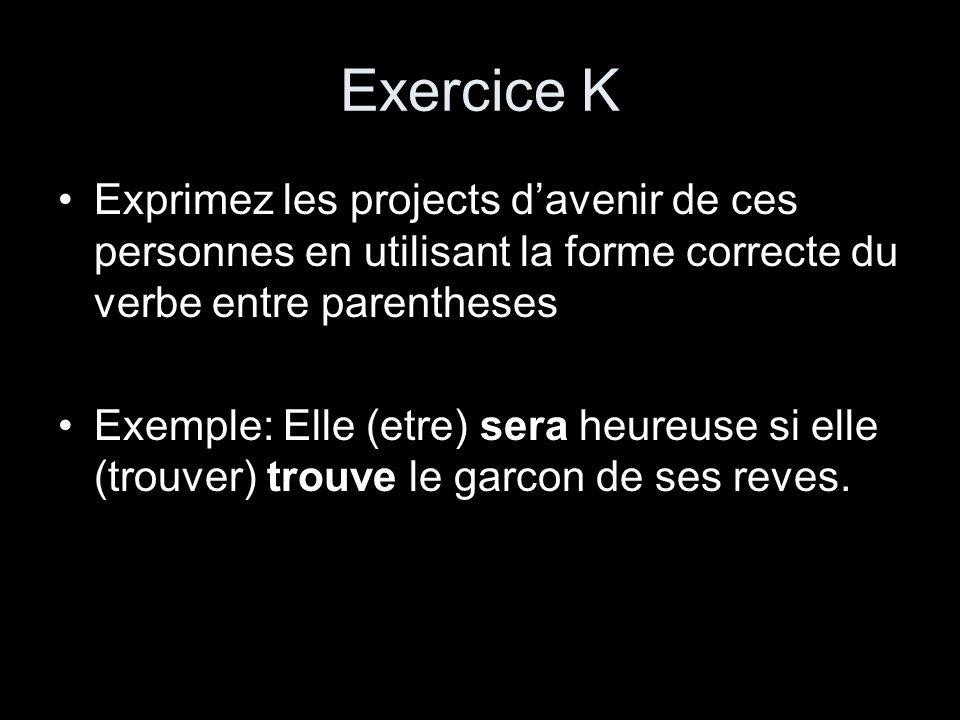 Exercice K Exprimez les projects d'avenir de ces personnes en utilisant la forme correcte du verbe entre parentheses.