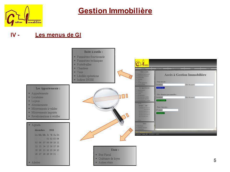 Gestion Immobilière IV - Les menus de GI