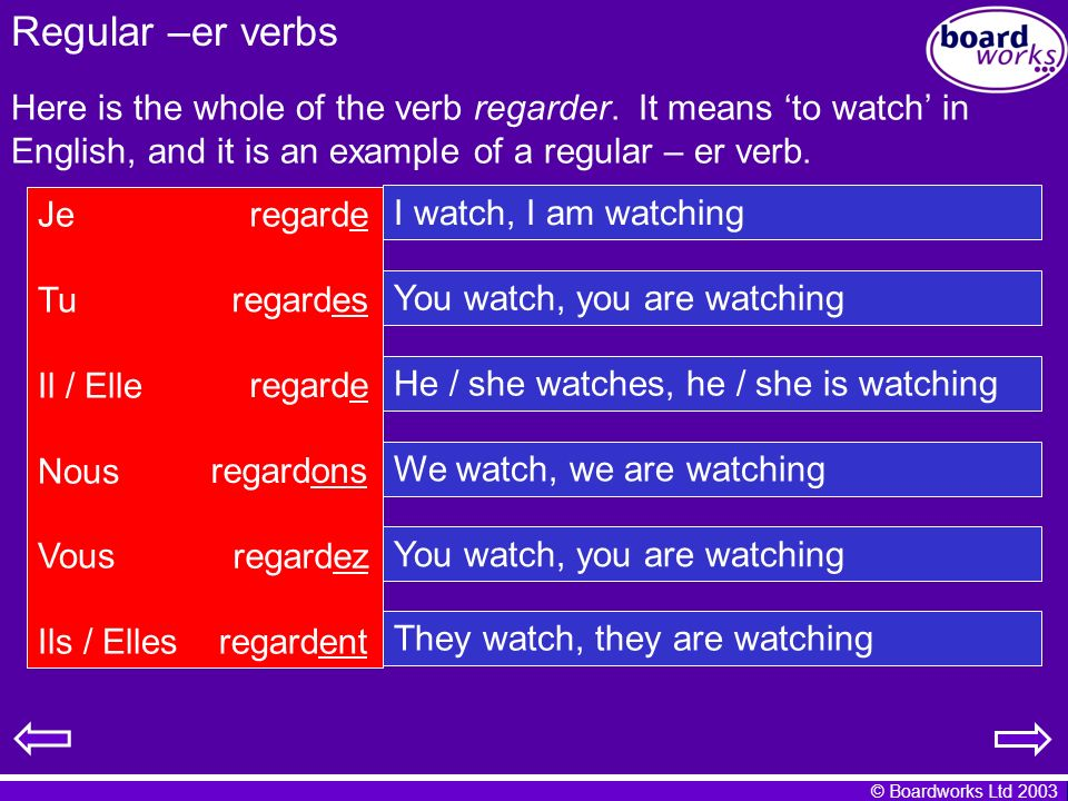 Regular –er verbs Here is the whole of the verb regarder. It means 'to watch' in English, and it is an example of a regular – er verb.