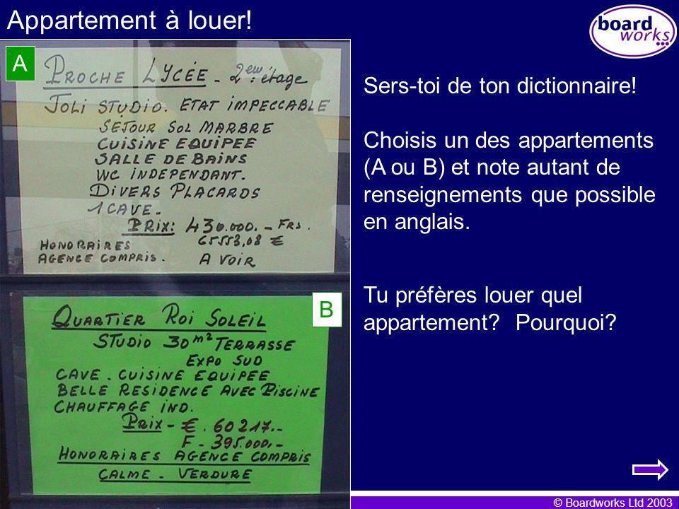 Appartement à louer! A Sers-toi de ton dictionnaire!