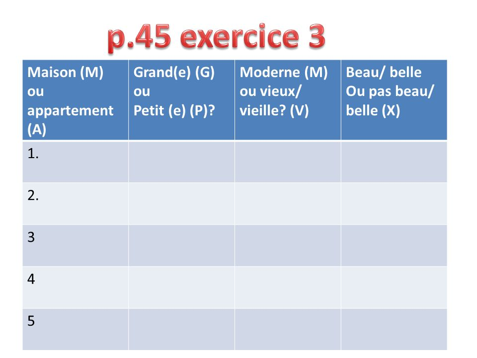 p.45 exercice 3 Maison (M) ou appartement (A) Grand(e) (G) ou