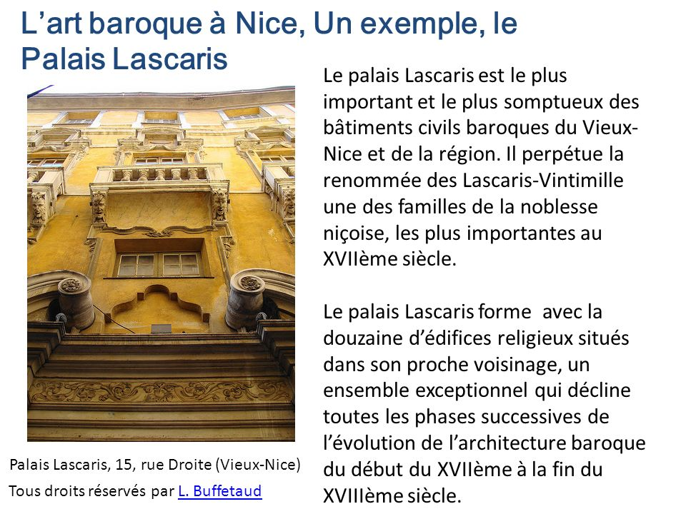L'art baroque à Nice, Un exemple, le Palais Lascaris