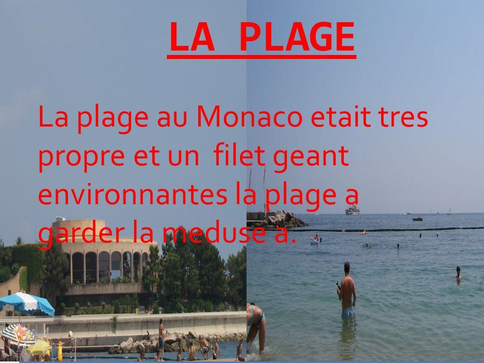 LA PLAGE La plage au Monaco etait tres propre et un filet geant environnantes la plage a garder la meduse a.