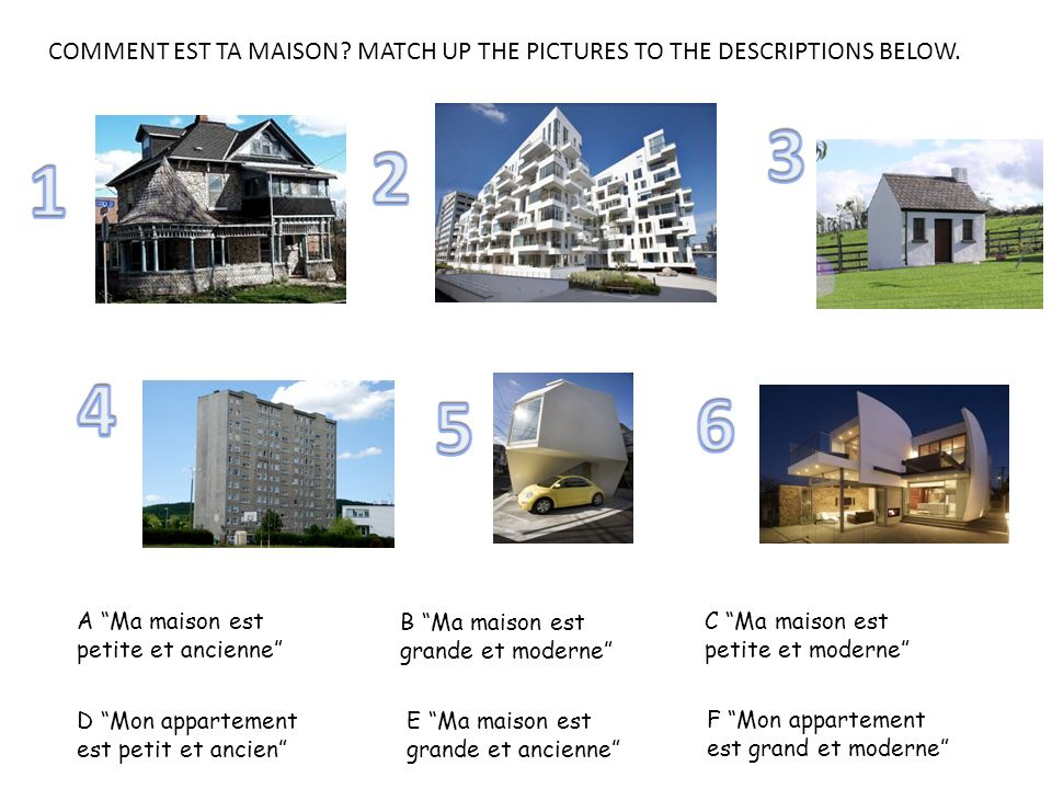 COMMENT EST TA MAISON MATCH UP THE PICTURES TO THE DESCRIPTIONS BELOW.
