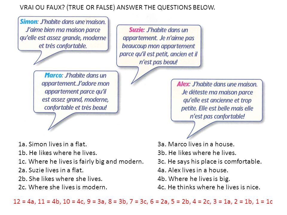 VRAI OU FAUX (TRUE OR FALSE) ANSWER THE QUESTIONS BELOW.