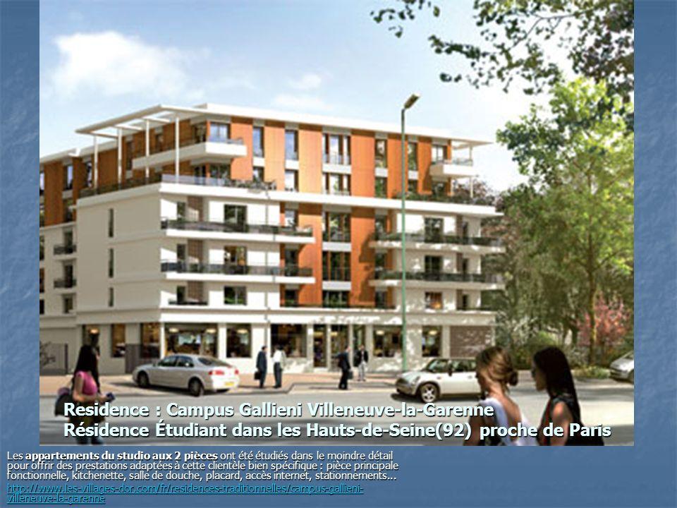Residence : Campus Gallieni Villeneuve-la-Garenne Résidence Étudiant dans les Hauts-de-Seine(92) proche de Paris
