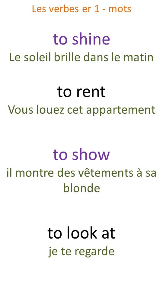 to shine to rent to show to look at Le soleil brille dans le matin