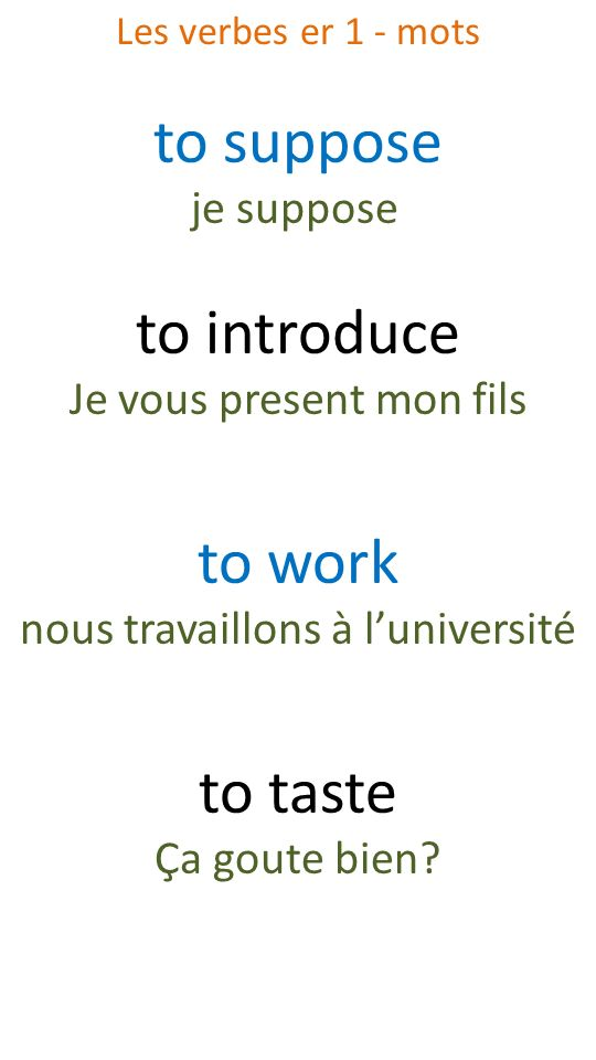 to suppose to introduce to work to taste je suppose