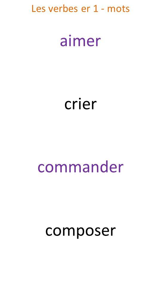 Les verbes er 1 - mots aimer crier commander composer