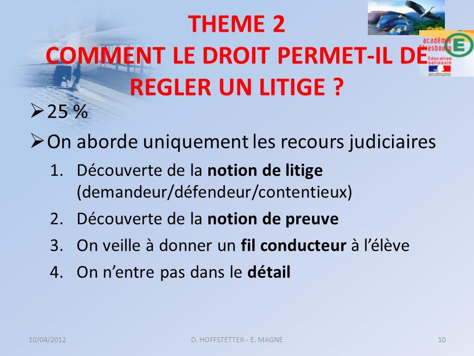 THEME 2 COMMENT LE DROIT PERMET-IL DE REGLER UN LITIGE