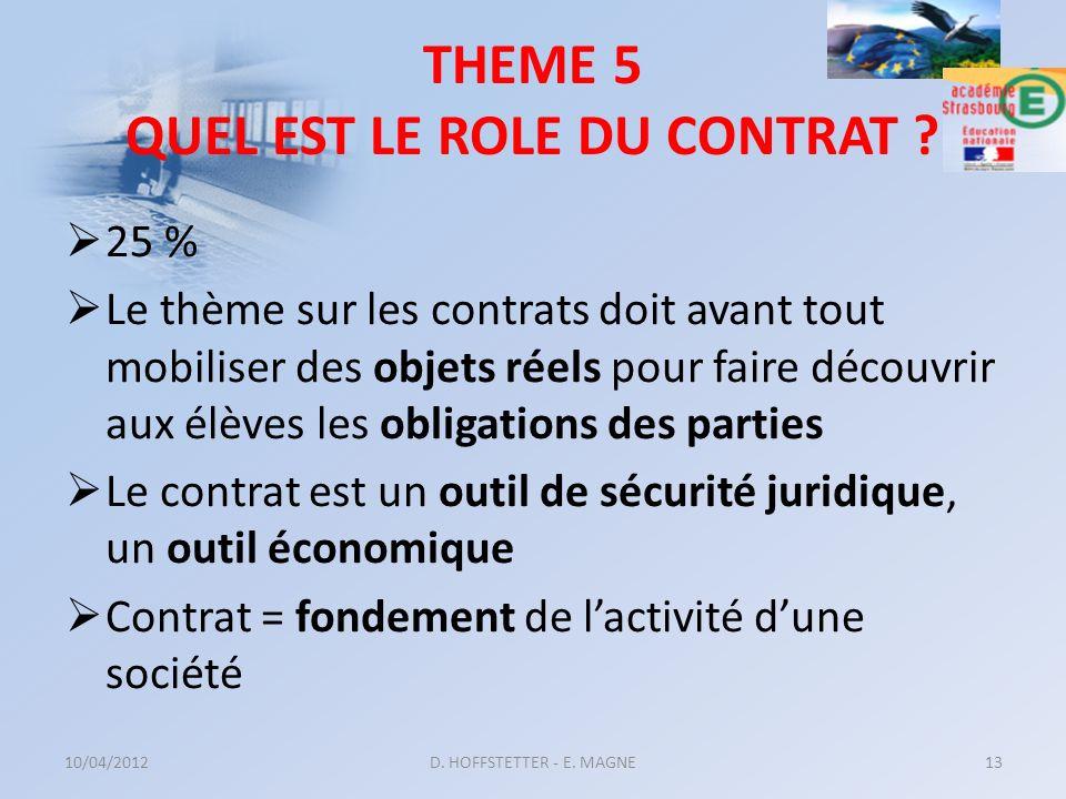 THEME 5 QUEL EST LE ROLE DU CONTRAT