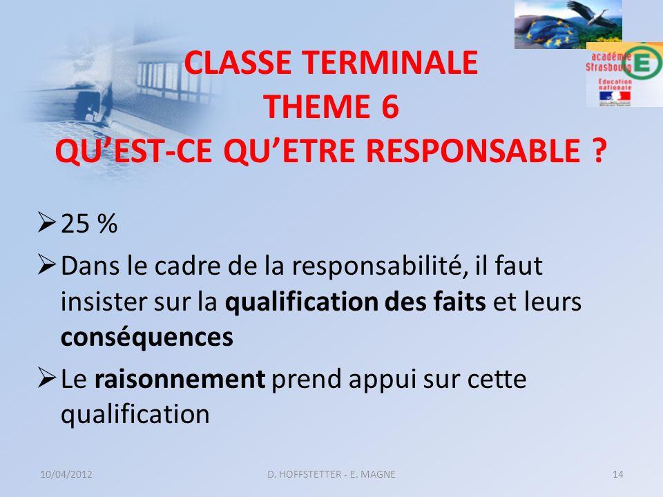 CLASSE TERMINALE THEME 6 QU'EST-CE QU'ETRE RESPONSABLE