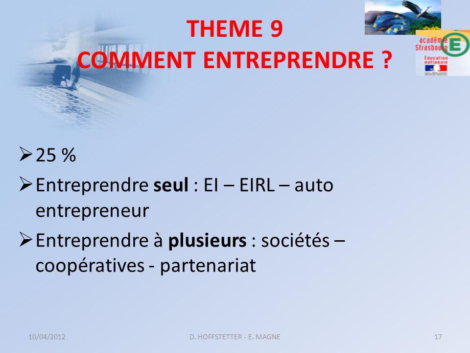THEME 9 COMMENT ENTREPRENDRE