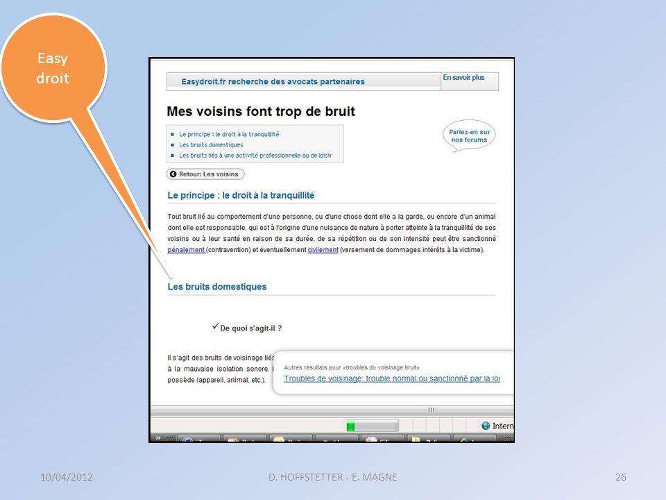 Easy droit 10/04/2012 D. HOFFSTETTER - E. MAGNE