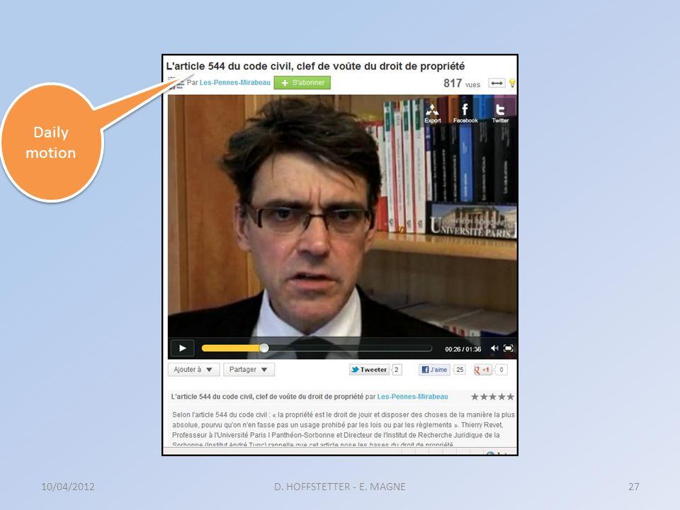 Daily motion 10/04/2012 D. HOFFSTETTER - E. MAGNE
