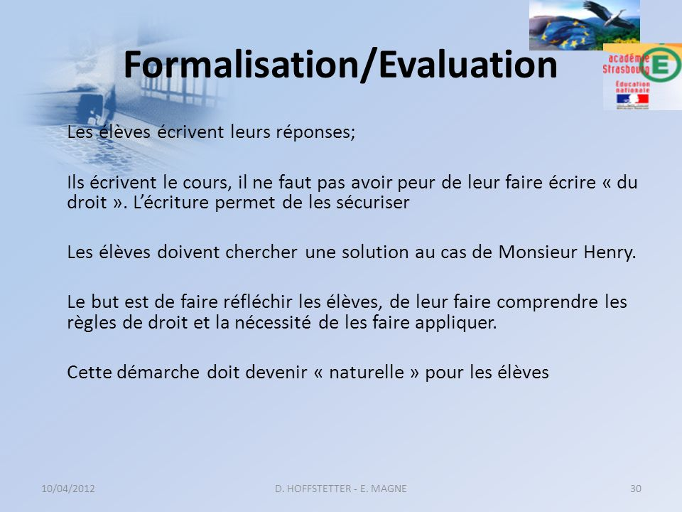 Formalisation/Evaluation