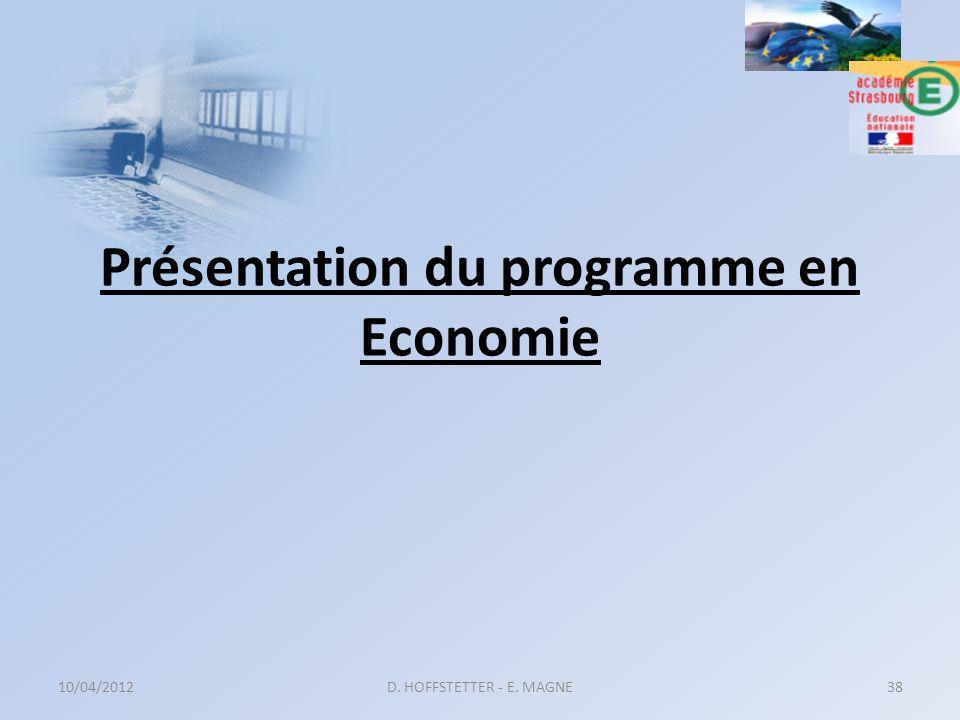 Présentation du programme en Economie