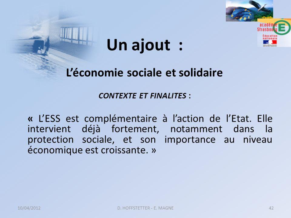 L'économie sociale et solidaire CONTEXTE ET FINALITES :
