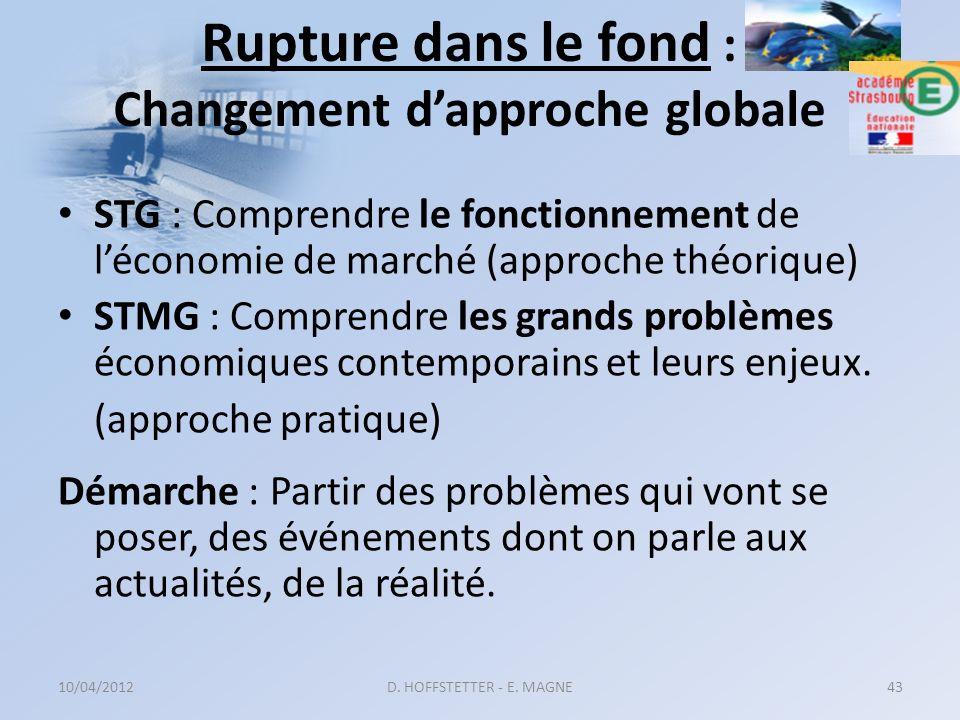 Rupture dans le fond : Changement d'approche globale