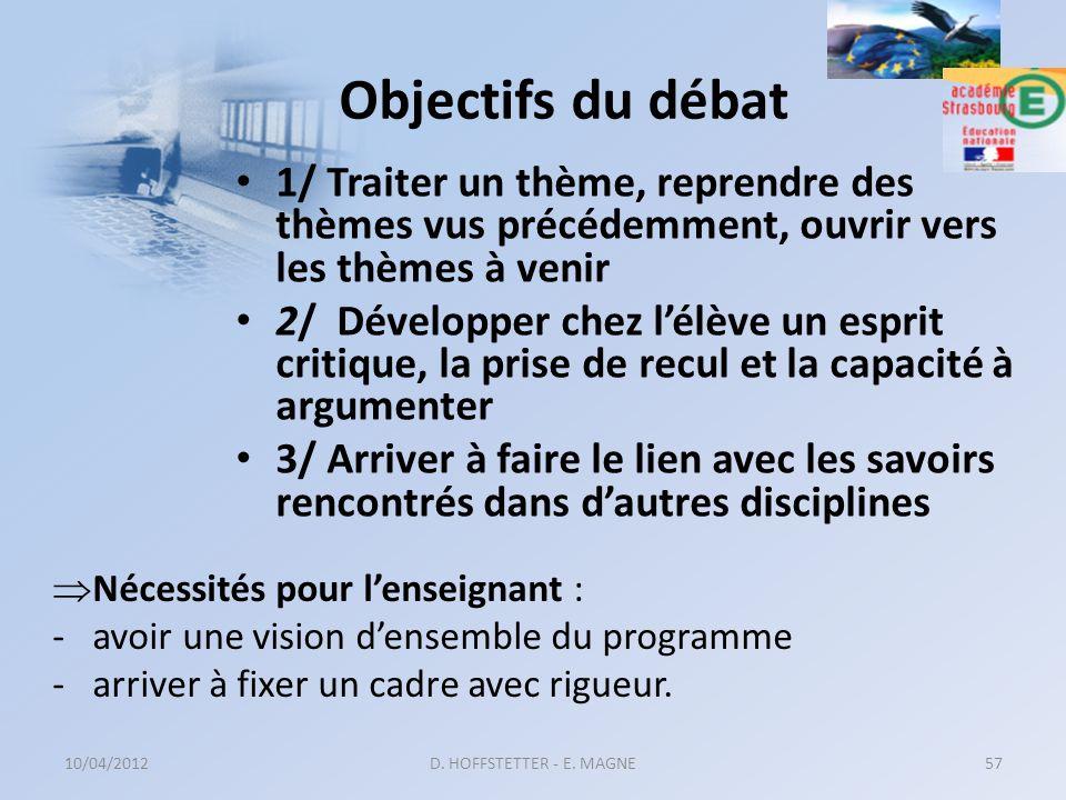 Objectifs du débat 1/ Traiter un thème, reprendre des thèmes vus précédemment, ouvrir vers les thèmes à venir.