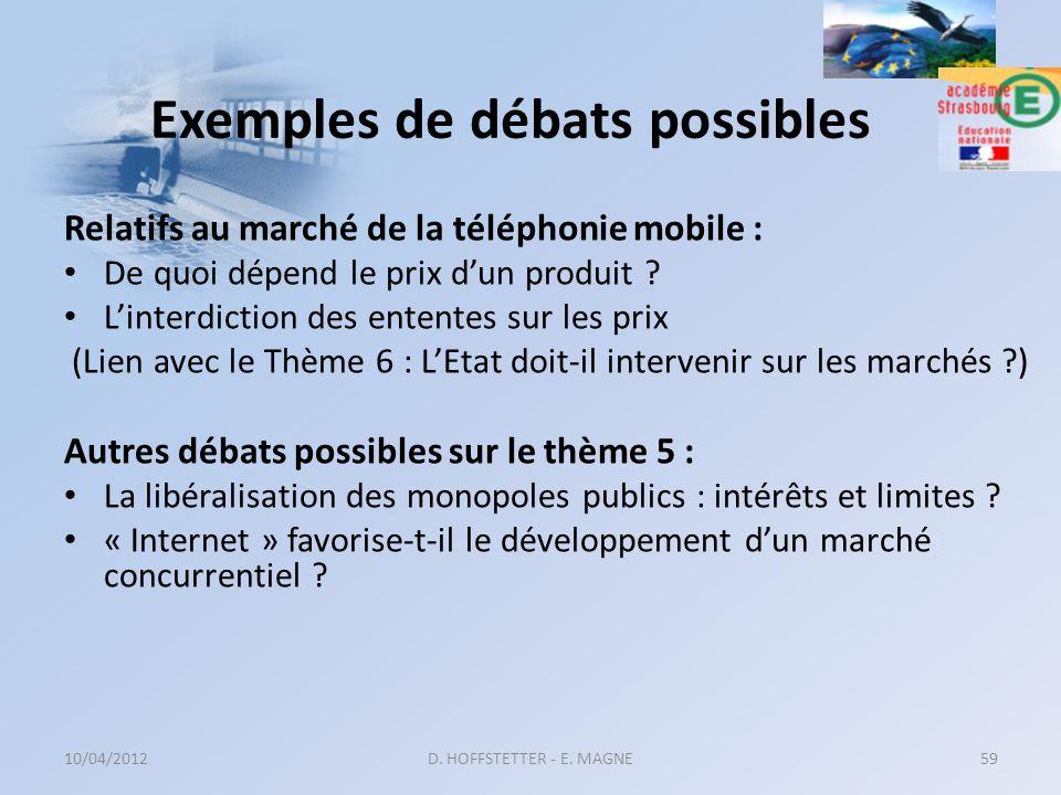 Exemples de débats possibles