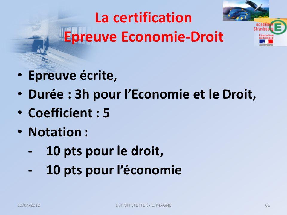 La certification Epreuve Economie-Droit