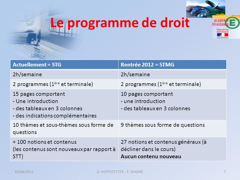 Le programme de droit Actuellement = STG Rentrée 2012 = STMG