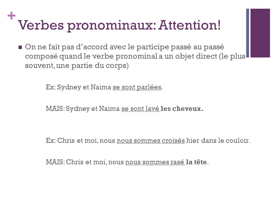 Verbes pronominaux: Attention!