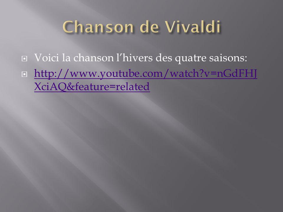 Chanson de Vivaldi Voici la chanson l'hivers des quatre saisons: