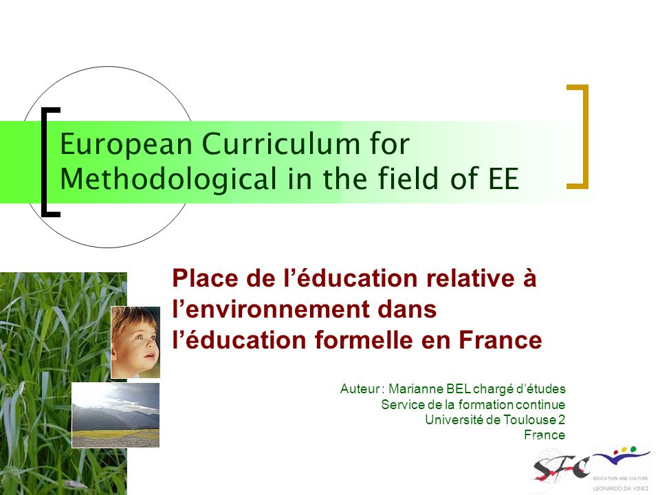 European Curriculum for Methodological in the field of EE