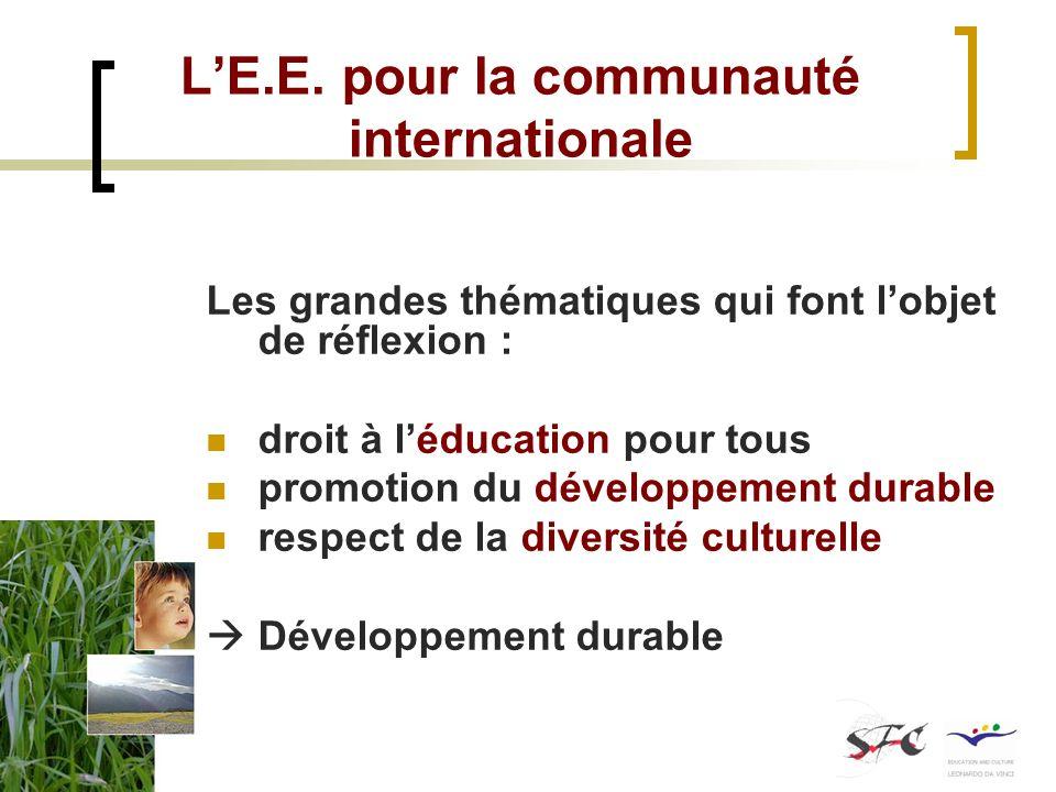 L'E.E. pour la communauté internationale