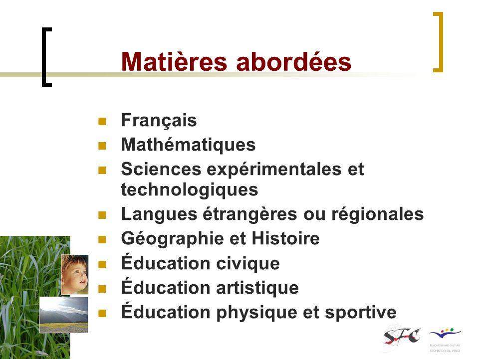 Matières abordées Français Mathématiques
