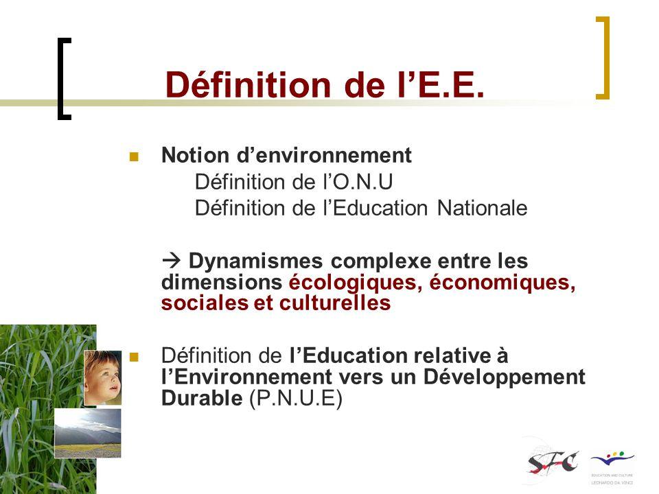 Définition de l'E.E. Notion d'environnement Définition de l'O.N.U