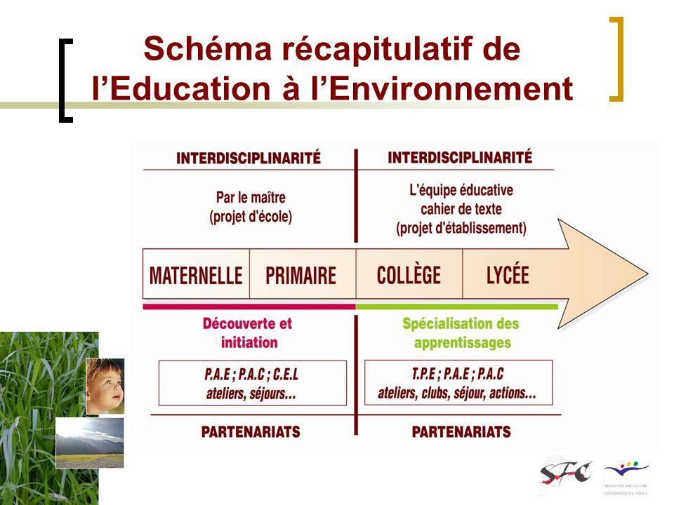 Schéma récapitulatif de l'Education à l'Environnement