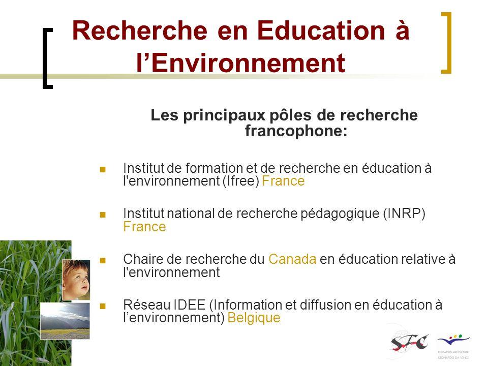 Recherche en Education à l'Environnement