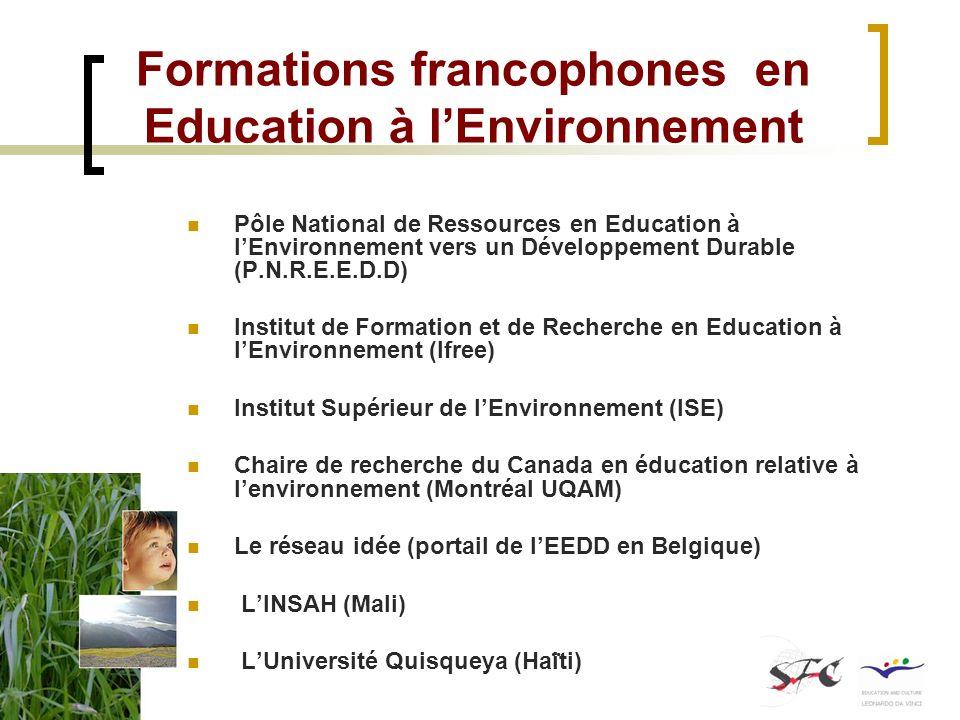 Formations francophones en Education à l'Environnement