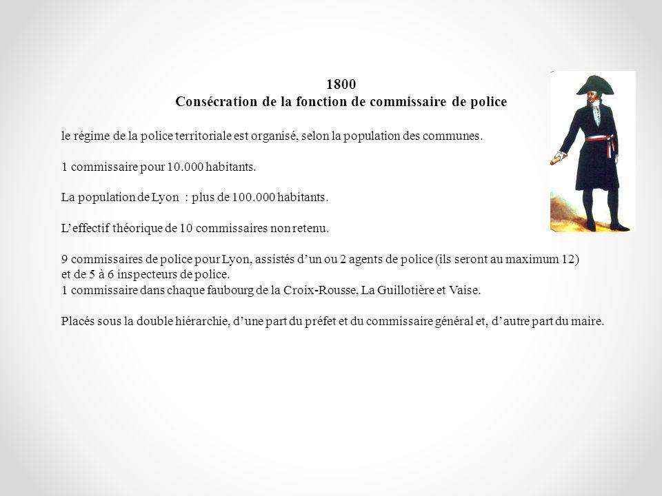 Consécration de la fonction de commissaire de police