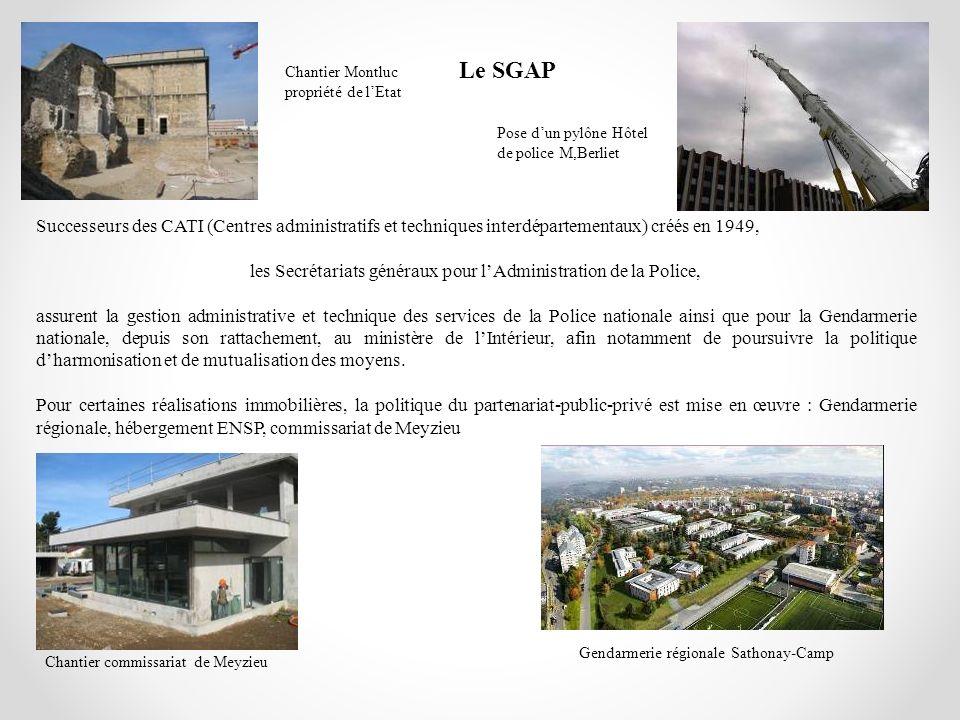 Le SGAP Chantier Montluc propriété de l'Etat. Pose d'un pylône Hôtel de police M,Berliet.
