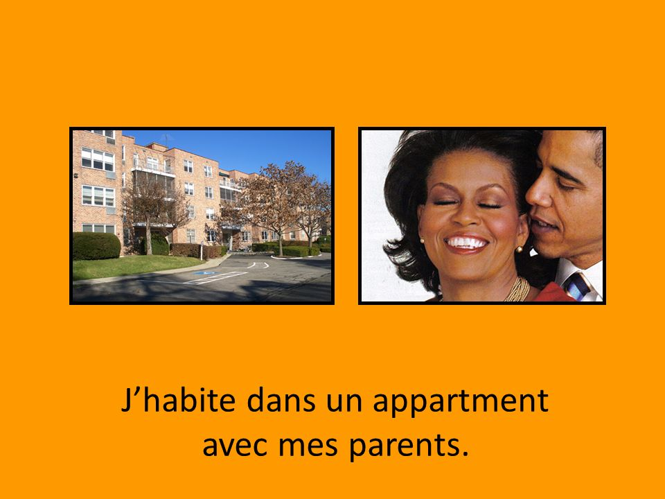J'habite dans un appartment avec mes parents.