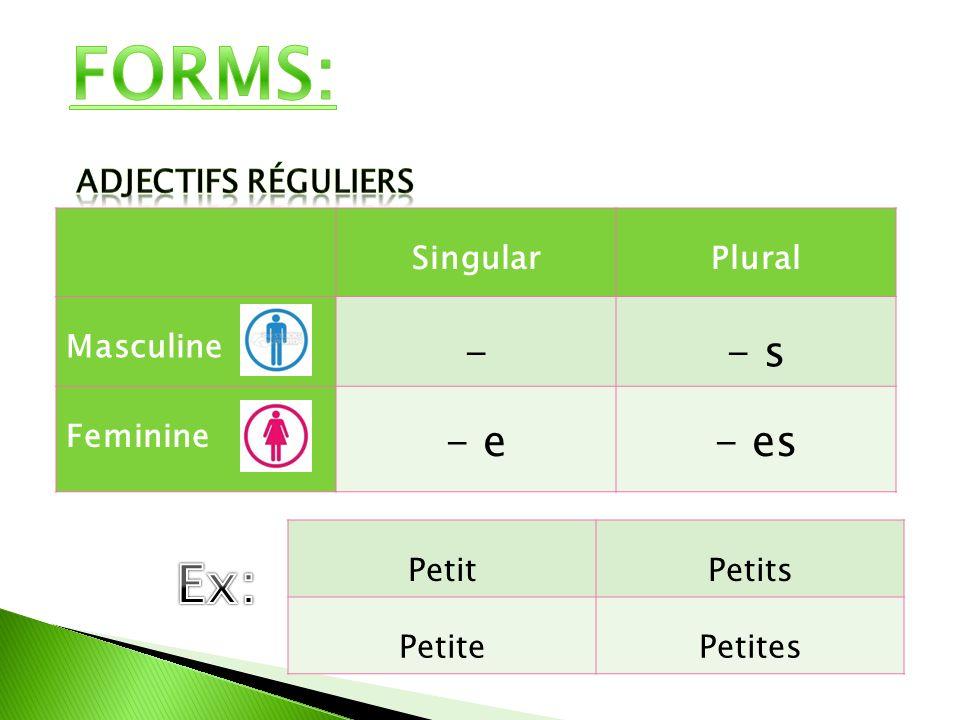FORMS: Ex: - - s - e - es Adjectifs réguliers Singular Plural