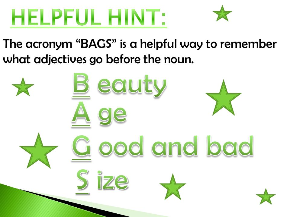 B eauty A ge G ood and bad S ize HELPFUL HINT: