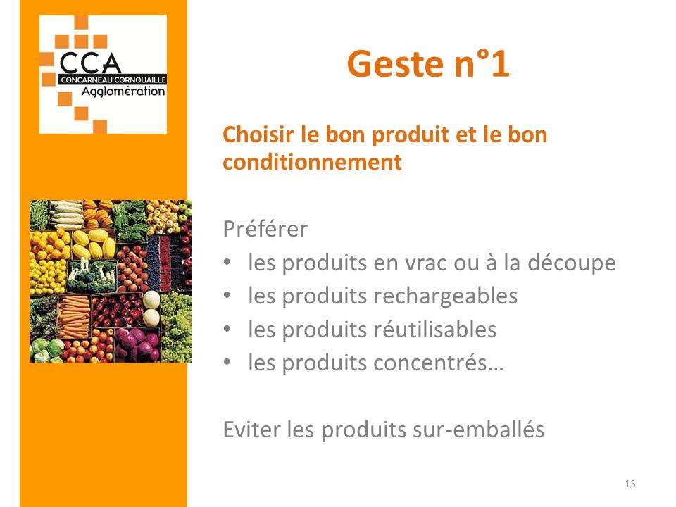 Geste n°1 Choisir le bon produit et le bon conditionnement Préférer