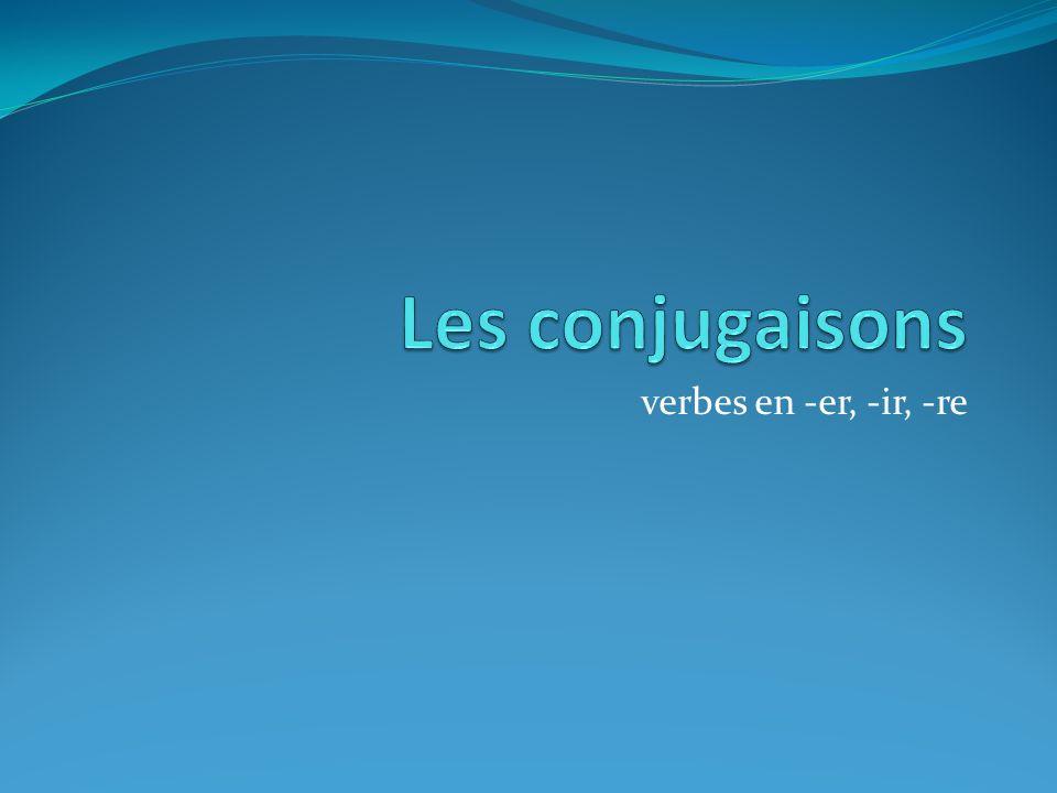 Les conjugaisons verbes en -er, -ir, -re