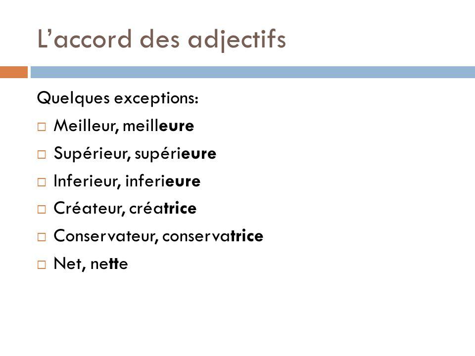L'accord des adjectifs