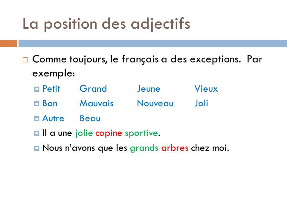 La position des adjectifs