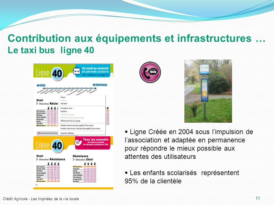 Contribution aux équipements et infrastructures … Le taxi bus ligne 40