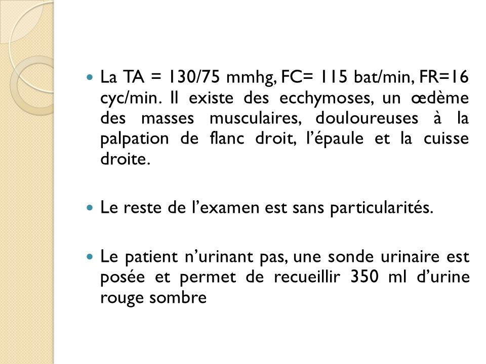 La TA = 130/75 mmhg, FC= 115 bat/min, FR=16 cyc/min